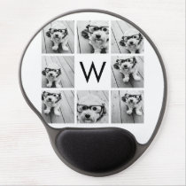 8 Photo Collage Custom Monogram Black and White Gel Mouse Pad