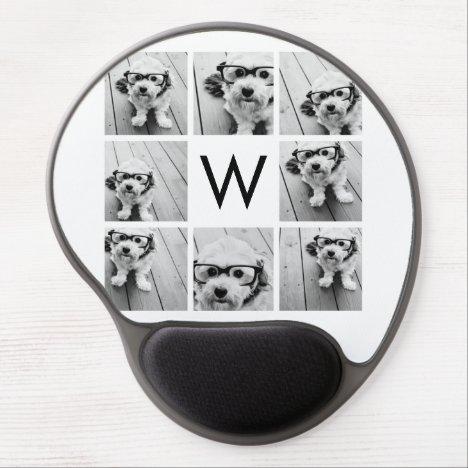 8 Photo Collage Custom Monogram Black and White Gel Mouse Pad