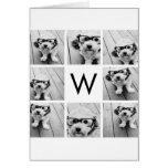 8 Photo Collage Custom Monogram Black and White Greeting Card
