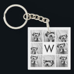 """8 Photo Collage Custom Monogram Black and White Keychain<br><div class=""""desc"""">You can use Instagram photos for this design. Use 8 square pictures to create a unique and personal gift. Or you can keep the hipster puppy and make a trendy keepsake. If you need to adjust the pictures,  click on the customize tool to make changes.</div>"""