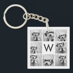 "8 Photo Collage Custom Monogram Black and White Keychain<br><div class=""desc"">You can use Instagram photos for this design. Use 8 square pictures to create a unique and personal gift. Or you can keep the hipster puppy and make a trendy keepsake. If you need to adjust the pictures,  click on the customize tool to make changes.</div>"