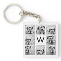 8 Photo Collage Custom Monogram Black and White Keychain