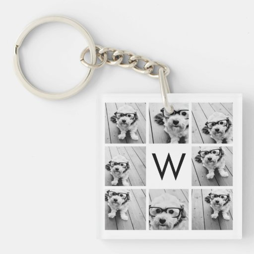 8 Photo Collage Custom Monogram Black and White Square Acrylic Key Chains