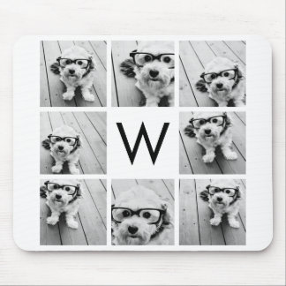 8 Photo Collage Custom Monogram Black and White Mouse Pad