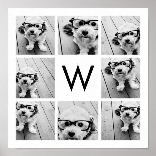 8 Photo Collage Custom Monogram Black and White Print