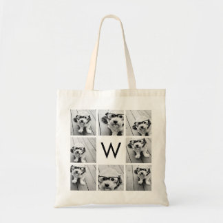 8 Photo Collage Custom Monogram Black and White Tote Bag