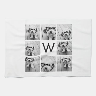 8 Photo Collage Custom Monogram Black and White Towels