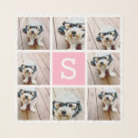 """8 Photo Collage Custom Monogram - Pink Scarf<br><div class=""""desc"""">Use 8 square photos to create a unique and personal gift. Or you can keep the hipster puppy and make a trendy keepsake. If you need to adjust the pictures,  click on the customize tool to make changes.</div>"""