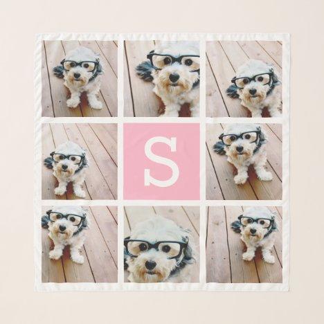8 Photo Collage Custom Monogram - Pink Scarf