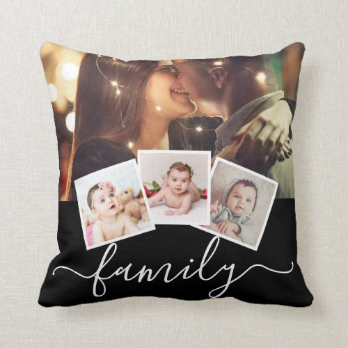 8 Photo Collage Family Personalized Throw Pillow