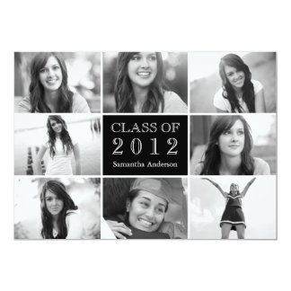 8 Photo Collage Graduation Invitation Black