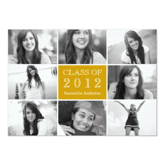 8 Photo Collage Graduation Invitation Gold