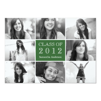 8 Photo Collage Graduation Invitation Green