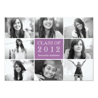 8 Photo Collage Graduation Invitation Lilac