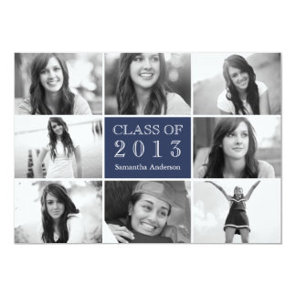 8 Photo Collage Graduation Invitation Navy