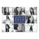 "8 Photo Collage Graduation Invitation Navy 5"" X 7"" Invitation Card"