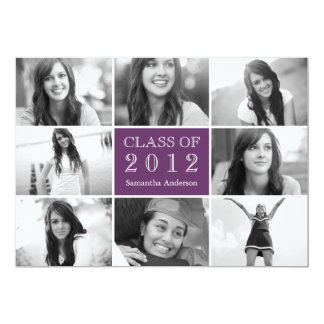 8 Photo Collage Graduation Invitation Purple