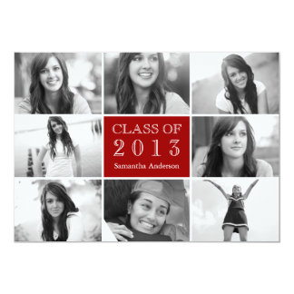 8 Photo Collage Graduation Invitation Red