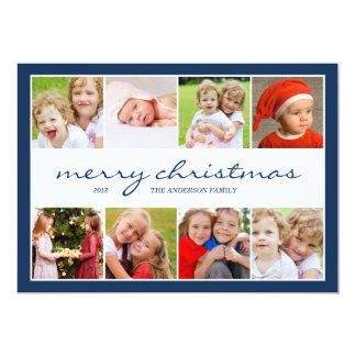 8 Photo Collage Holiday Photocard - Navy Card