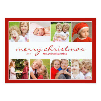 8 Photo Collage Holiday Photocard - Red Card
