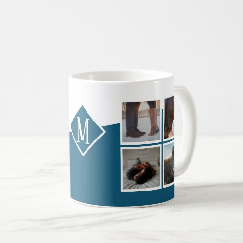 8 Photo Collage Instagram Monogrammed Blue Coffee Mug