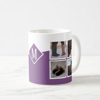 8 Photo Collage Instagram Monogrammed Purple Coffee Mug