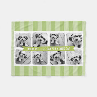 8 Photo Collage Light Green CAN EDIT Text & Color Fleece Blanket