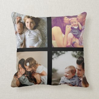8 Photo Collage Personalized Throw Pillow