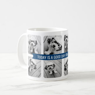 8 Photo Collage with Custom Text Navy Blue Ribbon Coffee Mug