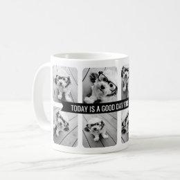 8 Photo Collage with Custom Text Ribbon - Black Coffee Mug