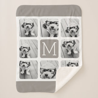 8 Photo Collage with Monogram - Neutral Taupe Sherpa Blanket