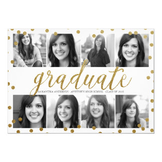 8 Photo Gold Glitter Look Graduation Invitation