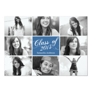 8 Photo Script Graduation Invitation - Blue