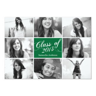 8 Photo Script Graduation Invitation - Green