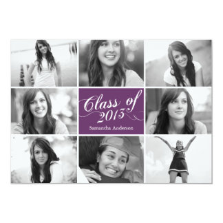 8 Photo Script Graduation Invitation - Purple