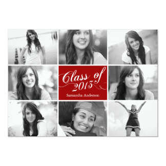 8 Photo Script Graduation Invitation - Red