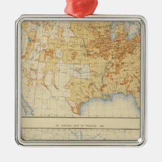 8 población rural, tamaño de las familias 1890 adorno navideño cuadrado de metal