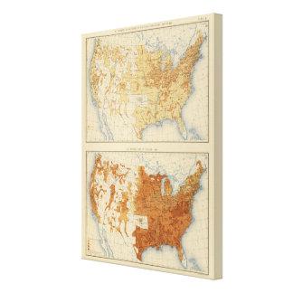 8 población rural, tamaño de las familias 1890 impresión en lienzo