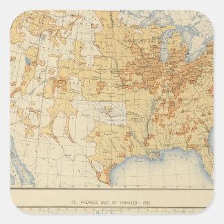 8 población rural, tamaño de las familias 1890 pegatina cuadrada