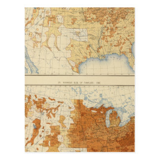 8 población rural, tamaño de las familias 1890 postales