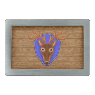8-Point Buck Deer Hunting Trophy on Wood Grain Rectangular Belt Buckle