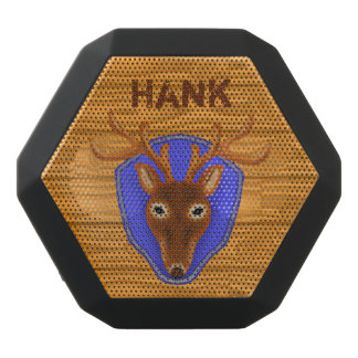 8-Point Buck Deer Hunting Trophy on Wood Grain Black Boombot Rex Bluetooth Speaker
