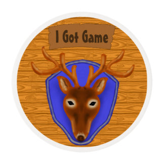 8-Point Buck Deer Hunting Trophy on Wood Grain Edible Frosting Rounds