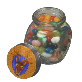 8-Point Buck Deer Hunting Trophy on Wood Grain Jelly Belly Candy Jars