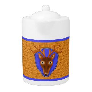 8-Point Buck Deer Hunting Trophy on Wood Grain Teapot