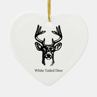 8 Point Buck White Tail Deer Ceramic Ornament