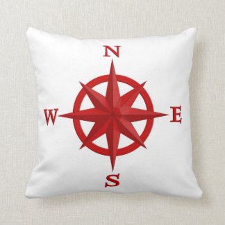 8-Point Compass Rose, Deep Red and White Throw Pillow