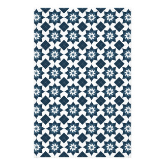 8 Point Star Pattern in Blue and White Stationery