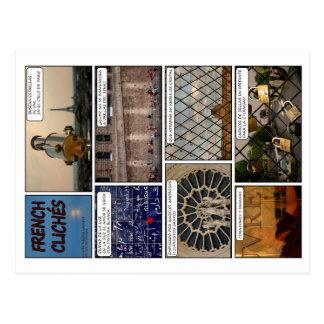 """8 postales """"French Clichés"""" con poema en Francés"""
