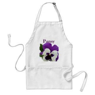 8 Purple White Pansy Adult Apron